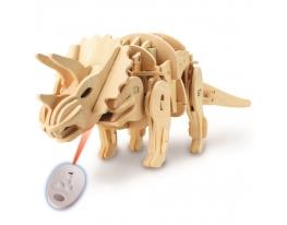 Деревянный 3D конструктор «Динозавр Трицератопс» на радиоуправлении фото