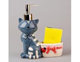 купить Дозатор для мыла с подставкой Серый кот