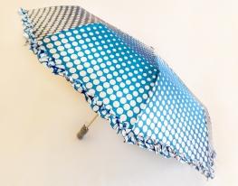 Зонт с рюшами Горошек антишторм голубой фото 1