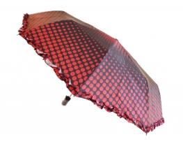 Зонт с рюшами Горошек антишторм черный фото 1