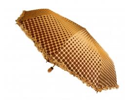 Зонт с рюшами Горошек антишторм кофейный фото 1
