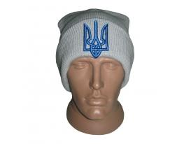 Серая шапка с украинской символикой Герб фото