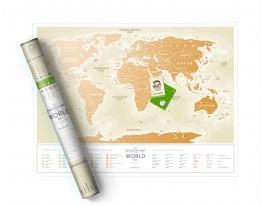 Скретч карта мира Travel Map Gold World русская фото