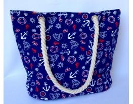Летняя текстильная сумка для пляжа и прогулок Якоря фото