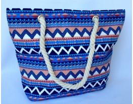 Летняя текстильная сумка для пляжа и прогулок Зигзаги фото