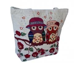 Летняя текстильная сумка для пляжа и прогулок Влюбленные совы фото 2