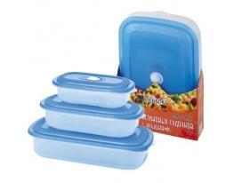 Судочки пластик из синей крышкой 3 шт фото