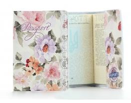 Кожаная обложка на паспорт Цветы фото