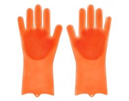 Силиконовые многофункциональные перчатки для мытья и чистки Magic Silicone Gloves фото