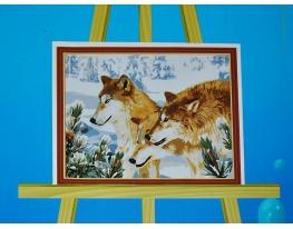 Картина на холсте по номерам Волки фото
