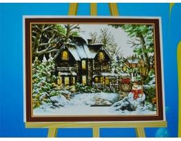 Картина на холсте по номерам Снеговик фото