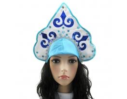 Кокошник Снегурочки Узор голубой с белым фото