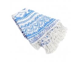 Пляжный коврик Мандала голубой, 150см фото