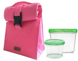 Термосумка для обеда с двумя судочками в комплекте по 0.3 и 0.7 л Розовая фото