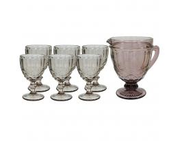 Набор 6 бакалов для вина VINTAGE розовый, 300 мл. + 1 графин 1 л. look 706 фото