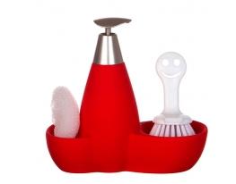 купить Набор для мыла с губкой и щеткой Красный