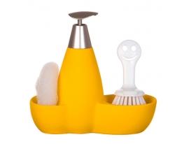 купить Набор для мыла с губкой и щеткой Желтый
