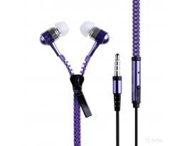 купить Наушники на молнии Zipper Earphones фиолетовые