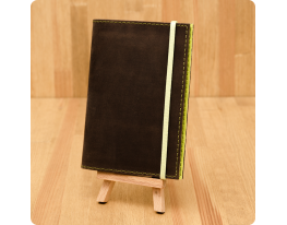 Кожаная обложка на паспорт Орех - Лайм фото