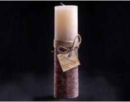 Свеча двухцветная Ванильно-шоколадная овальная высокая фото