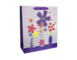 Клонировать Пакет подарочный Букет 33х26х10, фиолетовый фото