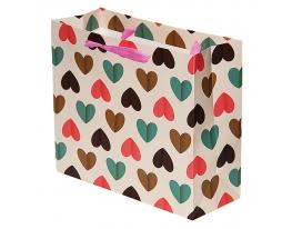 Пакет подарочный Сердца 27х31,5х12 фото