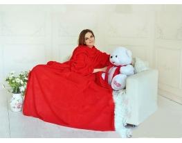 Плед с рукавами двухслойный флис Premium Красный фото 2