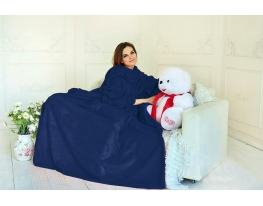Плед с рукавами двухслойный флис Premium Тёмно-синий фото