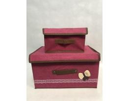 Короб кофр для хранения вещей (набор 2 шт) Малиновый фото