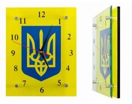 Часы настенные стеклянные Герб Украины фото