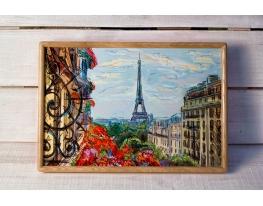 Поднос на подушке Парижский пейзаж