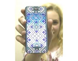 Виниловая наклейка для iPhone 5/5s Синяя вышиванка + заставка фото
