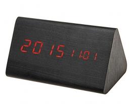 Часы Wooden Clock темный треугольный фото
