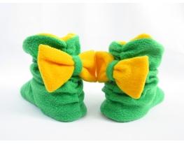 Тапочки зеленые с желтым бантом фото 1