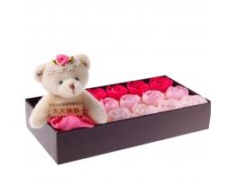 Подарочный Набор Мыла в виде Лепестков Роз с Плюшевым Мишкой фото