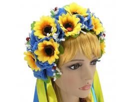Украинский венок Зоряна желто-голубой фото