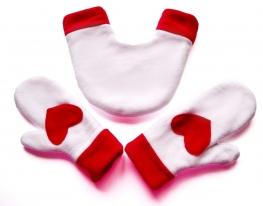 Варежки для влюбленных Бело-красные