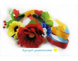 Обруч - венок Украинский Букет с лентами фото