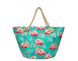 Пляжная сумка Бирюзовая с принтом Flamingo фото
