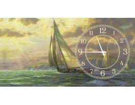 "Часы на холсте ""Яхта"" Томас Кинкейд фото"