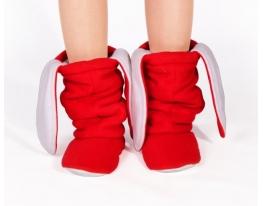 Тапочки Зайчики красные с белыми ушами фото