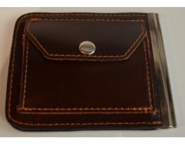Зажим для денег с кармашком для мелочи натуральная кожа №1 фото