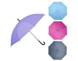 Зонт-трость полуавтомат ПВХ Клетка фото
