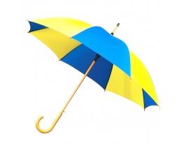 Зонт трость крючек Желто - Голубой фото