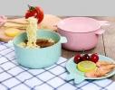 Кастрюля с крышкой-тарелочкой для запаривания каши, лапши или хранения пищи фото