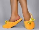 Тапочки комнатные Желтые с атласной ленточкой фото 1