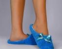 Тапочки комнатные Голубые с атласной ленточкой фото