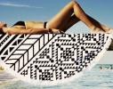 Пляжный коврик Мандала черная фото