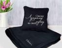 Набор подушка и плед с вышивкой Самому лучшему мужу на свете! Черный фото