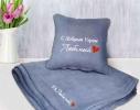 Набор подушка и плед с вышивкой С добрым утром, Любимый! Серый фото